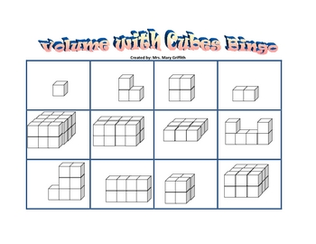 Volume With Cubes Bingo