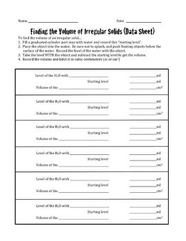 Volume of Irregular Solids- Data Sheet