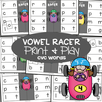 Vowel Racer - Print & Laminate Game for cvc Words