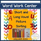 Vowel Sound Picture Sort using paint sticks