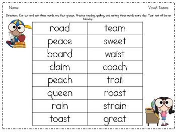 Vowel Team Word Sort