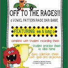 Vowel pattern race car game! Featuring ee & long o! With d