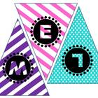 WELCOME Pennant Banner Stripes &amp; Polka Dot