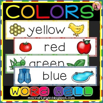 WORD WALL OF COLORS for Back to School