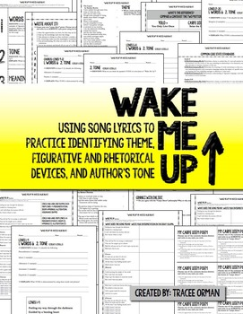Wake Me Up By Avicii & Aloe Blacc Figurative Language Activities