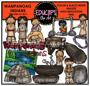 Wampanoag Indians Clip Art Bundle