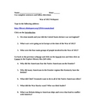 War of 1812 Webquest/Worksheet and Answer Sheet