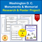 Washington, D. C. Monuments & Memorial Research & Poster Activity