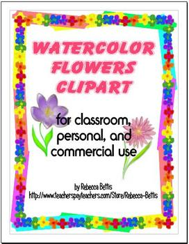 Watercolor Flowers Clipart Graphics
