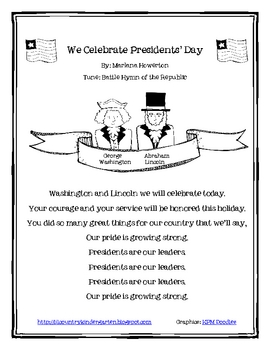 We Celebrate Presidents' Day Poem/Song for Shared Reading