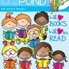 We Heart Books - Kids Reading Clipart Graphics