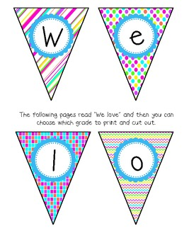 We love school! {FREE Bright pennant banners for your classroom}
