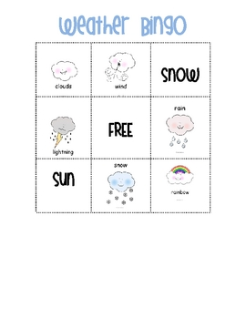 Weather Bingo-Cute!