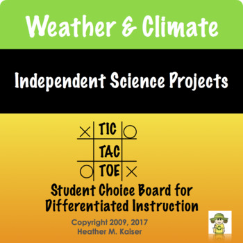 Weather & Climate Tic Tac Toe Differentiated Learning Plan