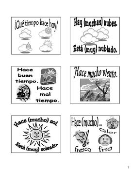 Weather (El Tiempo) Flash Cards/Bulletin Board in Spanish