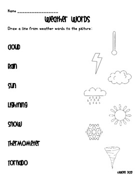 Weather Themed Literacy Activity Sheets