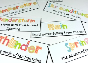 Weather Vocabulary Cards