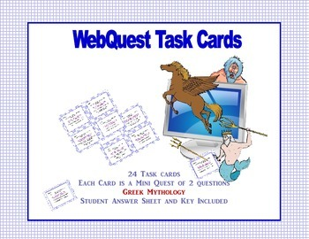Webquest Task Cards-  Greek Mythology Grades 4-7