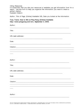 Website Citation Worksheet