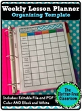 Week at a Glance Lesson Planning Organizer {Pacing,Templat