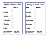 Weekly Behavior Chart for Classroom Management