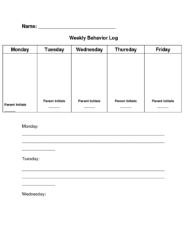 Weekly Behavior Reflection Log