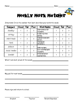 Weekly Goal Setting for Elementary Kids