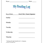 Weekly Homework Reading Log