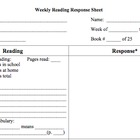 Weekly Reading Response Sheet