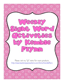 Weekly Sight Word Activities (Canadian Spellings)