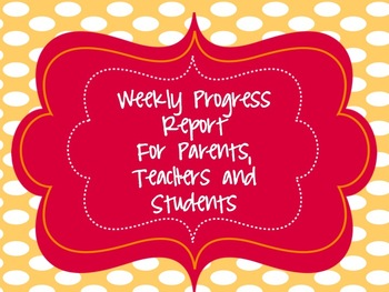 Weekly Student Progress Folder