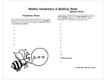 Weekly Vocabulary and Spelling Form