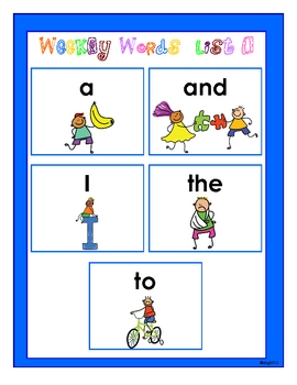 Weekly Word Wall Lists with Visual Pictures