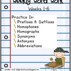 Weekly Word Work (wks 1-6)