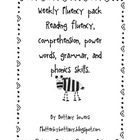 Weekly fluency, comprehension, and phonics worksheet.