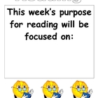 Week&#039;s Purpose for Reading chart