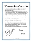 """""""Welcome Back"""" Activity"""