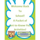 Welcome Back to School Packet of Suprises and Activities!