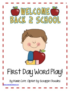 Welcome Back to School: WORD PLAY!