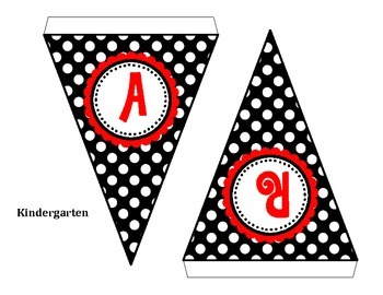 Welcome Black & White Polka Dot Pennant Banner