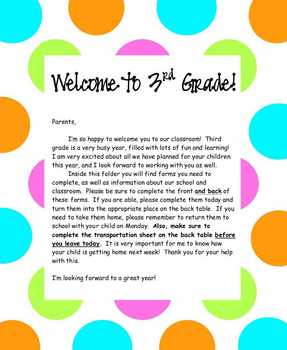 Welcome Packet Letter