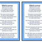 Welcome Poem For Open House/Back to School