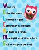 Welcome Sign Acrostic - Polka Dot Owl Theme