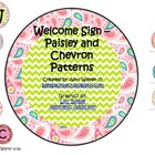 Welcome Sign - Bright Paisley and Chevron Patterns
