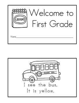 Welcome to First Grade Emergent Reader