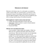"""Welcome to Life Science"" beginning of year letter"