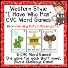 "Western Cowboy Themed ""I have...Who has..?"" Word Family/CV"