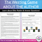 Westing Game- About the Author Worksheet