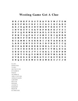 Westing Game Crossword Puzzle