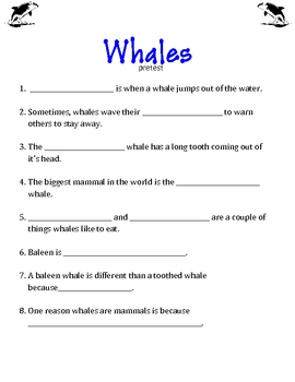 Whale Printables with common core standard